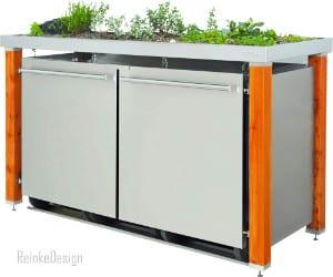 schicke Mülltonnenbox mit Lärchenholz und Pflanzschale