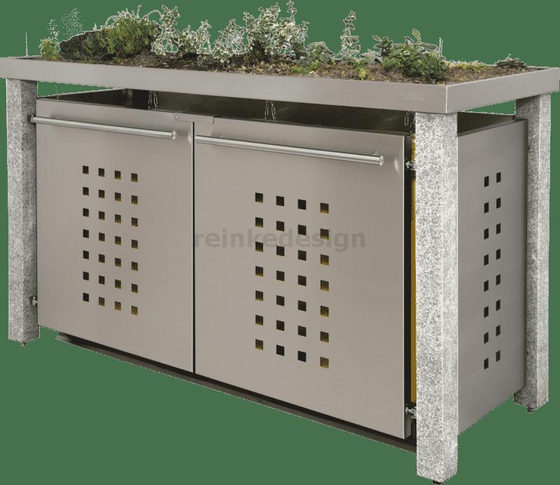 Granitpfosten und Pflanzschale zur Begrünung