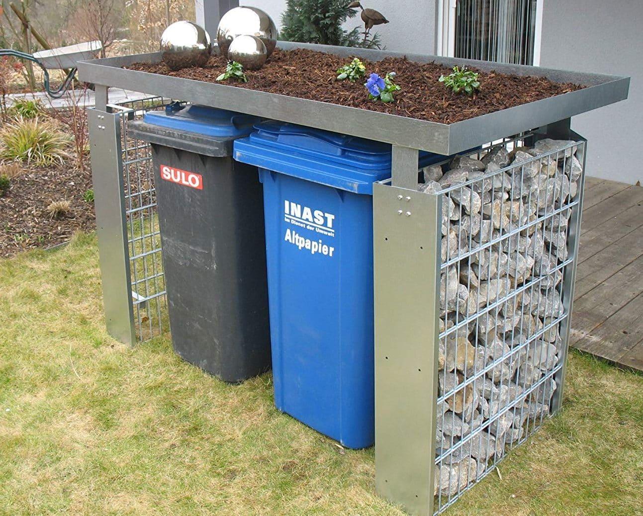 schicke Mülltonnenbox mit Gabionen und Pflanzschale