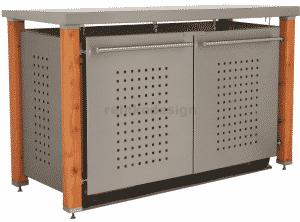 schicke Mülltonnenbox mit Lärchenholz und gelochten Türen